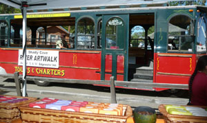 The Allaboard Trolley, which stopped right by our booth - River Art Walk - Shady Cove - 2011